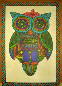 mexican folk art owl ( I have an old kitsch wooden owl I want to re-do in Mexican Folk style, this is good inspiration)