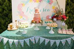 Glam Mermaid themed birthday party with Lots of Really Cute Ideas via Kara's Party Ideas | Cakes, favors, printables, games, and more! KarasPartyIdeas.com #mermaidparty #mermaids #underthesea #partystyling #partydecor #eventplanning (23)