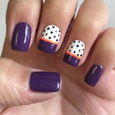 Fall purple orange dots nail art design