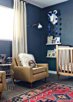 Dark & Moody Nursery with navy walls & a vintage rug // brittanyMakes