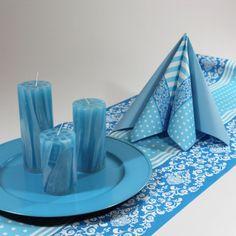 Inspiration til lyseblå borddækning #Tekstilservietter #DrengeKonfirmation