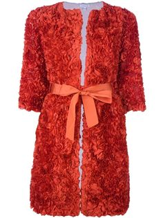 P.A.R.O.S.H 'Ramos' Orange silk Coat, featuring an all-over rose design and waist tie, and half-length sleeves.