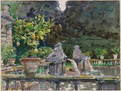 Villa di Marlia, Lucca: A Fountain John Singer Sargent (American, 1856–1925) 1910 Translucent watercolor, with touches of opaque watercolor and wax resist, over graphite on paper *Museum of Fine Arts, Boston. The Hayden Collection—Charles Henry Hayden Fund *Photograph © Museum of Fine Arts, Boston