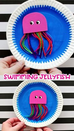 Kids will love making this fun paper plate swimming jellyfish craft that they can make swim around. Fun ocean crafts for kids and summer kids crafts. Ocean Kids Crafts, Summer Crafts For Kids, Diy For Kids, Summer Kids, Whale Crafts, Button Crafts For Kids, Sea Animal Crafts, Birthday Ideas For Kids, Toddler Paper Crafts