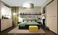 Sypialnia VERTI, trawa morska / limba czekoladowa  #meble #dom #wnetrza #wystrój #mieszkanie