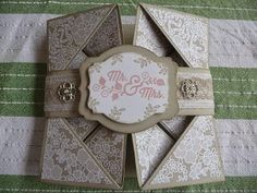 """Janine Rawlins Stampin'Up! Independent Demonstrator : Wedding Napkin Card Using """"For the New Two"""" and Something Borrowed DSP"""