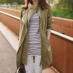 Price:$42.99 Color: Army Green Material: Cotton Oversize Leisure Cool Lapel Color Pure Women's Trench Coat