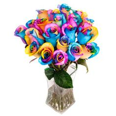 Two Dozen Rainbow Tinted Roses Bouquet with Vase and Luxury Gift Box from RoseSource.com.