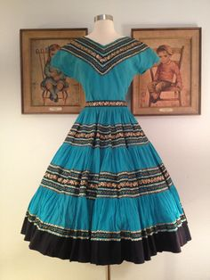 1950s Fabulous Turquoise 2 Piece Squaw Patio Dress--Black and Gold Ric Rac Trim