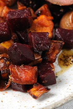James Sommerin's roast beetroot and sweet potato recipe is elegant, comforting and can be served with a range of mains. Try it with duck, chicken or quail. potato al horno asadas fritas recetas diet diet plan diet recipes recipes Roasted Vegetable Recipes, Vegetable Dishes, Beetroot Recipes, Baked Beetroot, Vegetarian Recipes, Cooking Recipes, Vegetarian Grilling, Healthy Grilling, Healthy Food