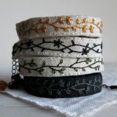 Hand Embroidered Jewelry and Home Decor by Sidereal on Etsy Fabric Bracelets, Embroidery Bracelets, Embroidery Art, Handmade Bracelets, Handmade Jewelry, Unique Jewelry, Fiber Art Jewelry, Textile Jewelry, Fabric Jewelry