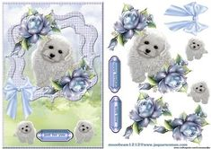 Scallop Cute Puppy on Craftsuprint designed by Marijke Kok - Very cute puppy in scallop frame with lovely bleu porcelain roses.for any occasion. - Now available for download!