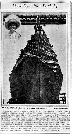 """WWI, 23 April 1917, USS New Mexico was launched. """"Almost without ceremony."""" - South Bend News-Times, 27 April 1917"""