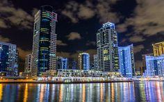 Download wallpapers Dubai Marina, 4k, nightscapes, modern buildings, yachts, Dubai, UAE