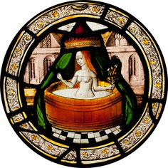 Labours of the months, maiden in her bath, possibly May or June, from Brandiston Hall Norfolk century stained glass roundel by Norwich School ca 1500 now in the Victoria and Albert Museum Norwich School, Renaissance, Medieval Stained Glass, Medieval Art, Medieval Life, Victoria And Albert Museum, Dark Ages, Illuminated Manuscript, Stained Glass Windows
