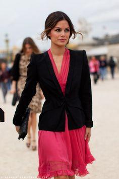 Pink dress and Black Blazer - gorgeous combination! <3