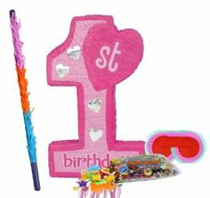 "Pink 1st Birthday Pull String Pinata Party Pack Including Pinata, Pinata Candy and Toy Filler, Buster and Blindfold by Pinata. $38.55. Includes Pink 1st Birthday Pull String Pinata. Includes approximately 2 pounds of Candy and Toys. Caution: not recommended for children under 3 years of age. Includes one hard Plastic Pinata Buster that measures approximately 30"". Caution: use only under adult supervision. Includes one Blindfold with Elastic String. Measures 7"" lon..."