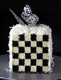 Black checkerboard cake, coconut frosting... perfect for a very special occasion.