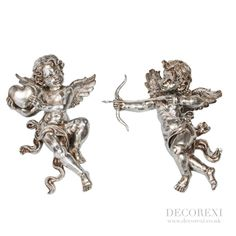 Pair Of Antique Silver Shooting Cupid & Love Heart Wall Figures