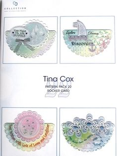PATTERN PACK 22 - ROCKER CARD BY TINA COX    A pattern pack of  four Fun Rocker Cards for lots of different occasions. The different elements of Tina Cox's patterns can be mixed and matched as you wish making a unique card.