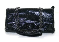 Chanel Black Patent Leather Ritz Flap Bag