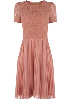 This pleated skirt dress has a lace top and short sleeves. In a stretch fabric, this is a great day to night dress. Day To Night Dresses, Day Dresses, Summer Dresses, Pink Dresses, Dress Skirt, Lace Dress, Pleated Skirt, Skirt Outfits, Dress Red