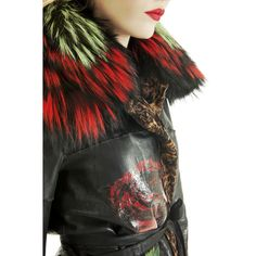 The luxury and the artistry of the PAJARO karakul handpainted trench with green and red dyed fox collar  #fur #pajarofurs