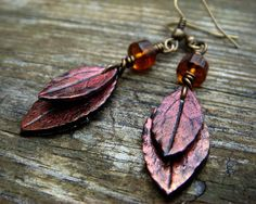 Red Leaf Earrings  Red and Bronze Polymer Clay by JustClayin, $10.00