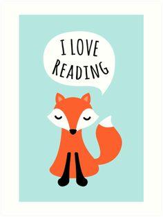 I love reading, cute cartoon fox art print poster.