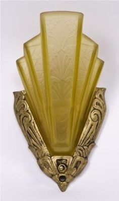 single american art deco c. 1930's slip shade electric light fixture or wall sconce