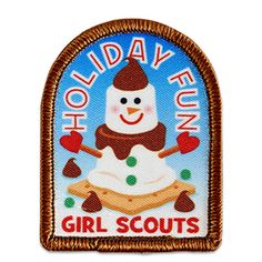 HOLIDAY FUN S'MORES SEW-ON PATCH Cool Patches, Sew On Patches, Holiday Fun, Holiday Gifts, Girl Scouts Usa, Girl Scout Patches, Badges, Cool Girl, Kids Rugs