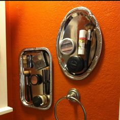 Awesome for those 'must have out' items. I'm totally doing this for my kids. If it's not in plain sight they don't see it. Metal trays & some magnets glued to whatever the item is & VOILA!