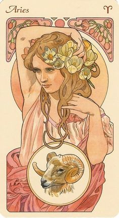 black moons in those eyes of hers - Art Nouveau Aries woman art print. For in depth info on Aries personality & characteristics go to w - Arte Aries, Aries Art, Zodiac Art, Aries Astrology, Zodiac Taurus, Motifs Art Nouveau, Art Nouveau Mucha, Alphonse Mucha Art, Art Nouveau Poster