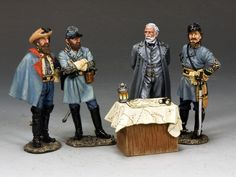 Civil War Confederate CW101 General Robert E Lee and his Generals - Made by King and Country Military Miniatures and Models. Factory made, hand assembled, painted and boxed in a padded decorative box. Excellent gift for the enthusiast.