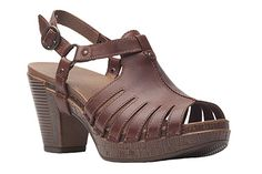 Trendy open-toe stacked heel sandal by Dansko! Randa in brandy full grain