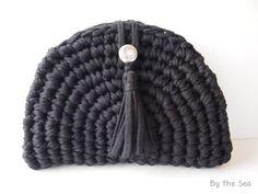 bd8f493b00 T shirt yarn crochet -Clutch Bag with Tassel -
