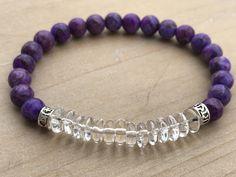 Men's Bracelet, Sugilite Bracelet, Clear Quartz Bracelet, Yoga Bracelet, Enhanced Spirituality, Mala Bracelet, Wrist Mala, Beaded Bracelet by CrystaliciousDesigns on Etsy