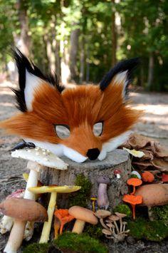 Faux Fox Fur Paper Mask handmade by Spirit Parade by SpiritParade
