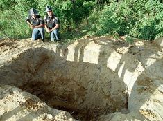 """The hole in which Tony """"The Ant"""" Spilotro and his brother Michael were buried alive in 1986. Tony thought Michael was going to be made into the Mafia but Tony and Michael were made into corpses."""