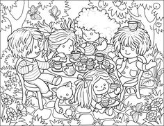 This week's colouring page is done by the lovely Marina! She created a fun tea party - don't you want to go in there and have some cake and tea with those dolls? They look like they are having so much fun!So, to download, please adjust your printer to print in landscape mode so that you get it…