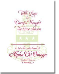 Elegant Alpha Chi Omega Bid Day card