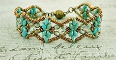 """GOLDEN AGE BRACELET   11/0 seed beads Miyuki """"Dark Bronze"""" (457D)  8/0 seed beads Miyuki """"Dark Bronze"""" (457D)  MiniDuo beads """"Blue Turq..."""