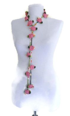 Crochet Necklace Flower necklace Holiday by likeknitting on Etsy