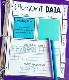I'm drooling over how organized and pretty this Student Data page is that Emil. I'm drooling over how organized and pretty this Student . Teacher Organization, Teacher Tools, Teacher Hacks, Teacher Resources, Resource Teacher, Small Group Organization, Special Education Organization, Kindergarten Classroom Organization, University Organization