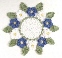 Pretty Delicate Crocheted White & Blue Rose Doily