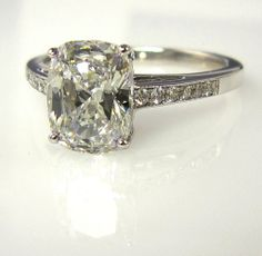 1.79ct Estate Vintage CUSHION Cut Diamond Engagement Ring in 18k White Gold and Diamond Setting EGL USA Certified