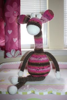 Crochet Giraffe Plush Large Giraffe Doll Pink and brown Giraffe by DunnWithLove #DunnWithLove