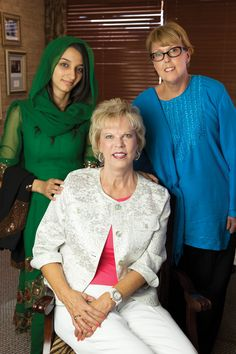 Afghan Sahiba Nooristani, her mentor Jan Hill, right,  and IEEW founder Terry Neese, seated