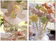 Lindos esses pirolitos em formato de estrela em tons pasteis para decorar uma mesa de aniversário mágica para menina. Fabiana Moura - Projetos Personalizados