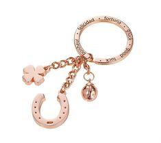 "Troika ""Good Luck"" Keyring Horseshoe, Clover, Blush Gold #Troika #Keyring #Keychain #Blush_gold #Gold #Luck #Love #Horseshoe #4leaf_clover #Fortuna #Gluck #Good_luck #Bonheur #Felicidad #Heart #German_design #Design #Stationery #Gifts Blush And Gold, Rose Gold, Charms, Metal Casting, Lucky Charm, Chrome Plating, Key Rings, Handbag Accessories, Pendants"